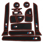 BMW - CAR SLOT PAD NON-SLIP CUP MAT FOR BMW NEW 3 SERIES (RED)