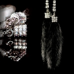 DAD GARSON - MINK CRYSTAL CHAIN - BLACK