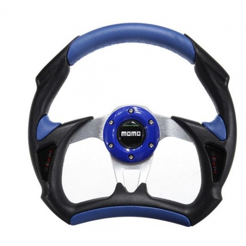 MOMO - ALUMINUM FRAME RACING CAR UNIVERSAL STEERING WHEEL BLUE ...