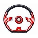 MOMO - AUTO RACE STEERING WHEEL WITH HORN BUTTON RED