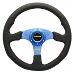 MOMO - CAR 14INCH LEATHER AUTOMOBILE RACE STEERING WHEEL BLUE