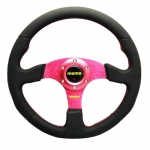 MOMO - CAR 14INCH LEATHER AUTOMOBILE RACE STEERING WHEEL PINK