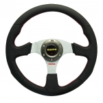 MOMO - CAR 14INCH LEATHER AUTOMOBILE RACE STEERING WHEEL SILVER